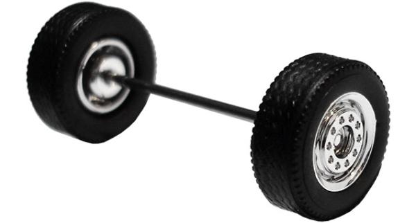 690001 E - Radsatz verchromt, MEDI Breitreifen (Vorderachse / Aufliegerachse)