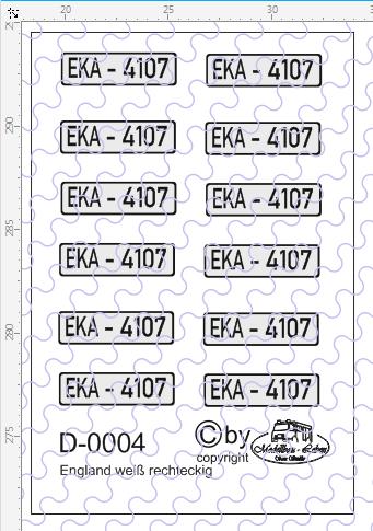 D-0004 Kennzeichen England-Nummernschild weiß rechteckig 12 Stück - 1:87 Decal