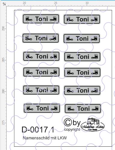 D-0017.1 Namensschild mit LKW Motiv 12 Stück - 1:87 Decal