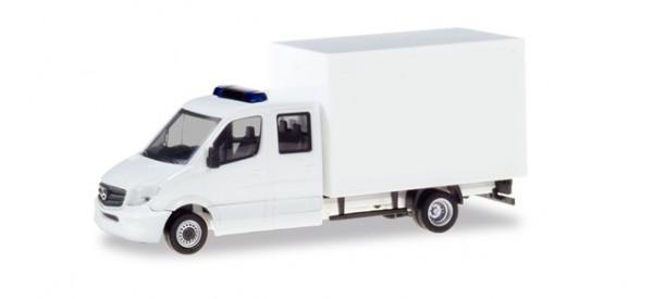 H 013666 Minikit Mercedes-Benz Sprinter Doppelkabine mit Koffer, weiß
