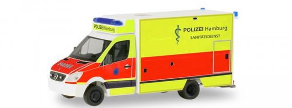 """Herpa 094436 Mercedes-Benz Sprinter Fahrtec RTW """"Polizei Hamburg - Sanitätsdienst"""" Automod"""