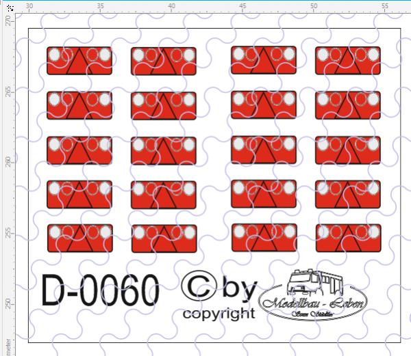 D-0060 Rückleuchten - Decalsatz 10 Paar 1:87