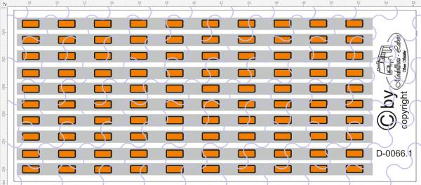 D-0066.1 Begrenzungslichter orange / Silber - Decalsatz 100 Stück 1:87