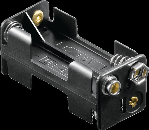 Z-11990 HALTER 4XUM4-QDK Batteriehalter für 4 Microzellen (3 AAA), Druckknopf , offen ohne Schalter