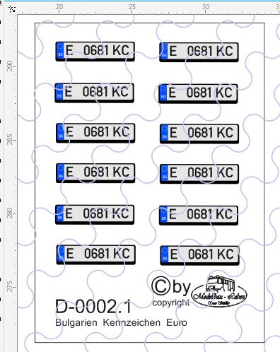 D-0002.1 Kennzeichen Bulgarien-Nummernschild Euro rechteckig 12 Stück - 1:87 Decal