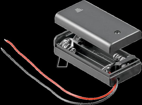 Z-48171 HALTER 2XAA Batteriehalter für 2 Mignonzellen (2 AA), geschlossen mit Schalter