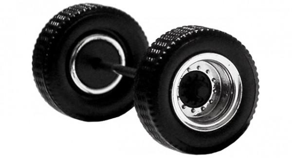 690101 C - Radsatz 2tlg. chrom/schwarz, Aufliegerachse