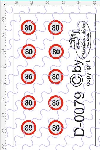 D-0079 Begrenzungsschild 80km/h 10 Stück Decalsatz 1:87