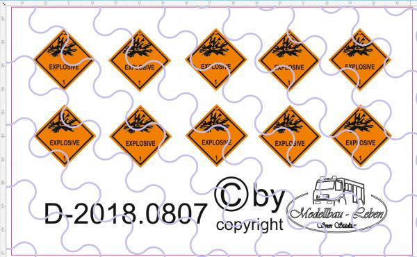 D-2018.0807 Warntafel 1 , Explosive, 10 Stück Decalsatz 1:87