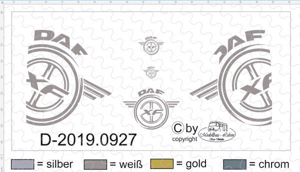 D-2019.0927 - Decalsatz DAF für Seiten der Zugmaschine - 1 Stk - 1:87