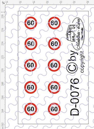 D-0076 Begrenzungsschild 60km/h 10 Stück Decalsatz 1:87