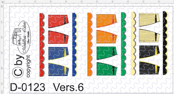 D-0123.6 Gardinen Decalsatz Version 6 - 6 Stück 1:87