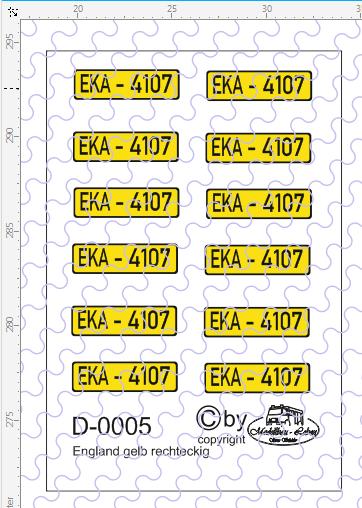 D-0005 Kennzeichen England-Nummernschild gelb rechteckig 12 Stück - 1:87 Decal
