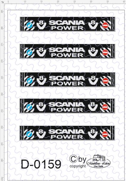 D-0159 - Decalsatz Schmutzlappen Scania V8 Power 5 Stück