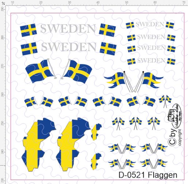 D-0521 Flaggenset Schweden - 1 Satz 1:87