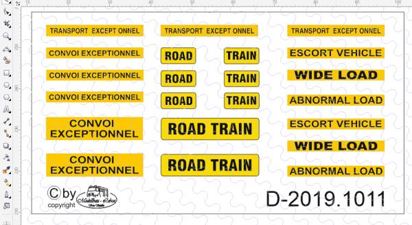 D-2019.1011 Decalsatz Australiesche Warnschilder- 22 Stück - 1:87