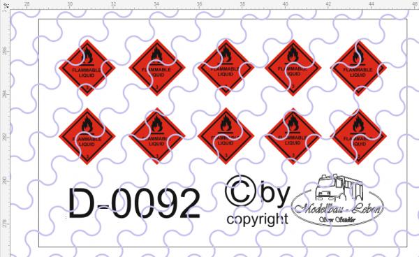 D-0092 Warntafel 3 , Entzündbare flüssige Stoffe, 10 Stück Decalsatz 1:87