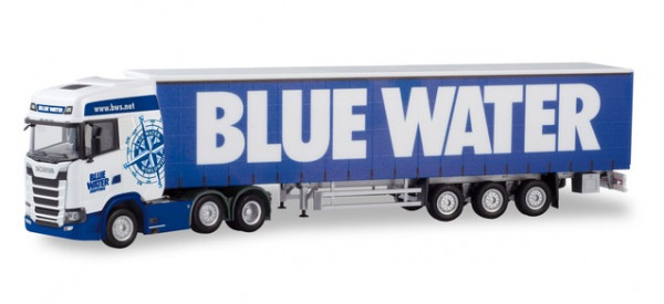 "Herpa 310659 Scania CS 20 HD 6×2 Gardinenplanen-Sattelzug ""Blue Water"" DK)"