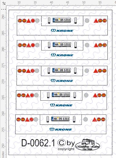 D-0062.1 Rückleuchten Heck Krone Rund - Decalsatz 5 Stück 1:87