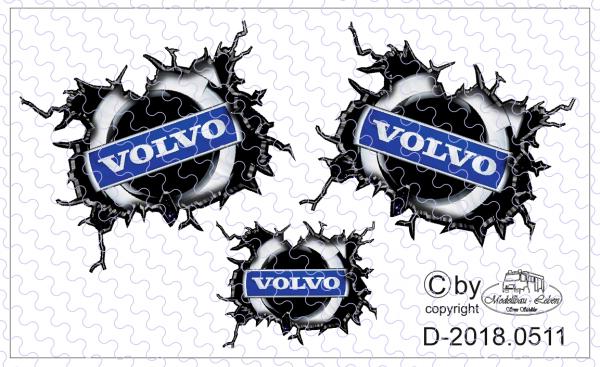 D-2018.0511 - Decalsatz Aufgerissener Volvo für Fahrerhaus Seiten und Rückwand 1 Satz in 1:87