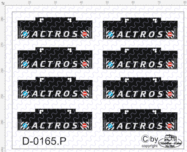D-0165.P auf Poly gedruckte Heckschmutzlappen Actros 8 Stück 1:87