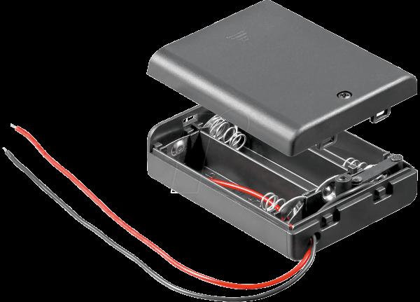 Z-BH2487 HALTER 3XAA Batteriehalter für 3 Micnonzellen (2 AA), geschlossen mit Schalter