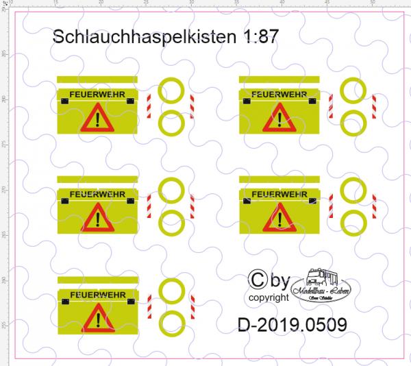 D-2019.0509 Feuerwehr Schlauchhaspelkasten Beschriftung 1:87 - 5 Stück
