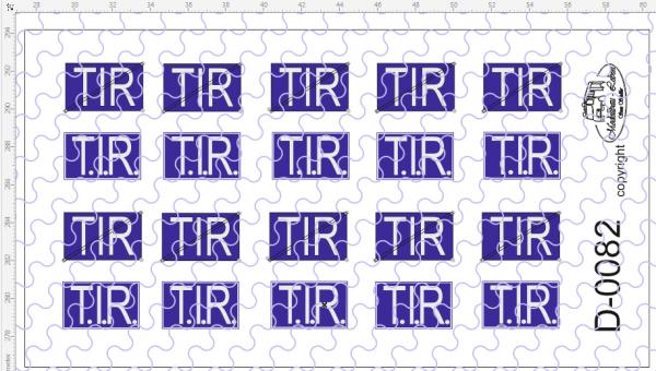 D-0082 TIR Transit Schild - 2 verschiedene Ausführungen Decalsatz 20 Stück 1:87