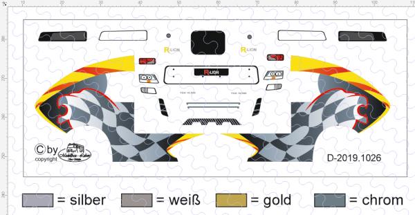D-2019.1026 - Decalsatz Race Lion Zugmaschine 1:87 - 1 Satz