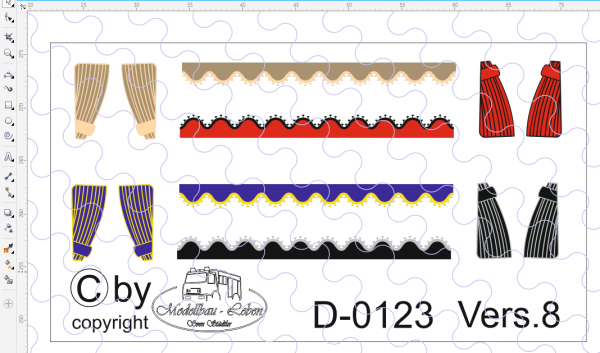D-0123.8 Scheibengardinen offen Decalsatz , Version 8 - 4 Stück gemischte Farben - 1 Satz 1:87