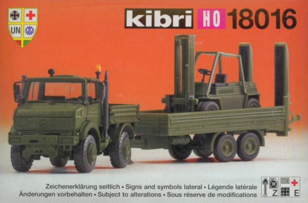 KB 18016 - Kibri Unimog mit Zweiachshänger und Stapler - Bausatz H0