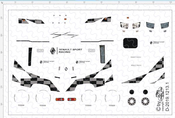 D-2019.1213.1 - Decalsatz Renault T für Fahrerhaus - Race Design II - 1 Satz 1:87