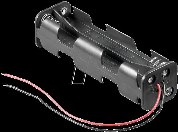 Z-11741 HALTER 8XAAK Batteriehalter für 8 Mignonzellen (2 AA), Kabel , offen ohne Schalter
