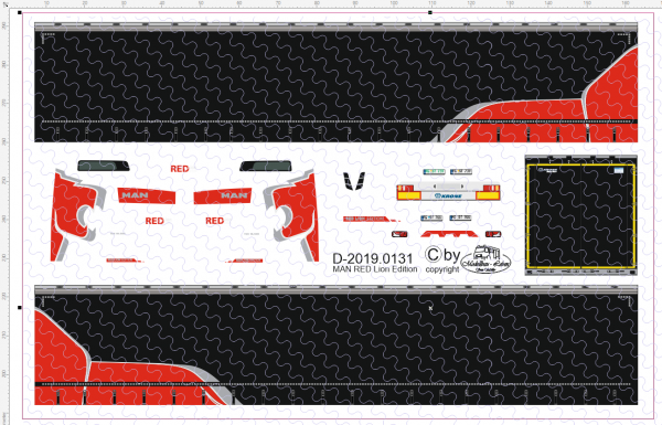 D-2019.0131 - Decalsatz MAN Red Lion incl. Planenauflieger - 1 Stk - 1:87