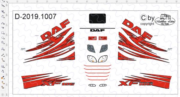 D-2019.1007 - Decalsatz für DAF Zugmaschine - 1 Stück - 1:87