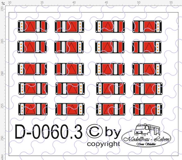 D-0060.3 Rückleuchten LED - Decalsatz 10 Paar 1:87