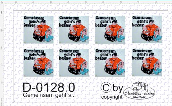 D-0128.0 Brummi - gemeinsam geht´s besser Schild groß - Decalsatz 8 Stück 1:87