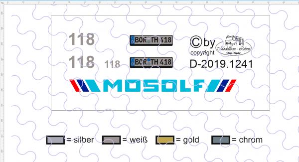 D-2019.1241 - Decalsatz Mosolf für Fahrerhaus - 1 Satz 1:87 (mit Wunschnummer / Kennzeichen