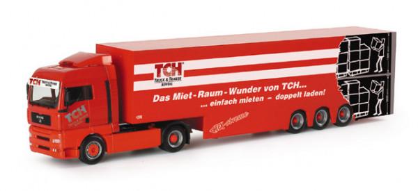 "Herpa 152884 MAN TGA XLX Doppelstock-Koffer-Sattelzug ""TCH"""