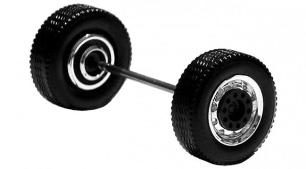 690101 D - Radsatz 2tlg. chrom/schwarz, Breitreifen (Vorderachse / Aufliegerachse)
