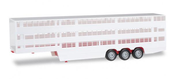 Herpa 076333.002 Viehtransporter-Auflieger, rotes Chasis