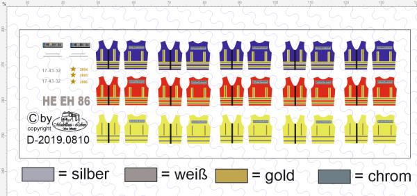 D-2019.0810 Decalsatz Feuerwehr Einsatzwesten 3 x 5 Stück 1:87