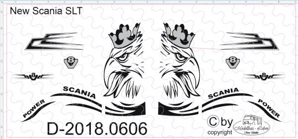 D-2018.0606 - Decalsatz Scania S Schwerlast Zugmaschine SLT 1:87