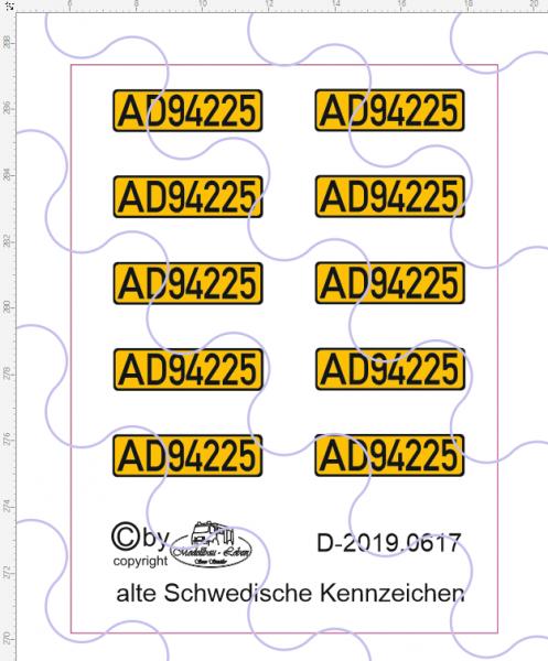 D-2019.0617 Decalsatz alte Schwedische Kennzeichen - 10 gleiche - 1:87
