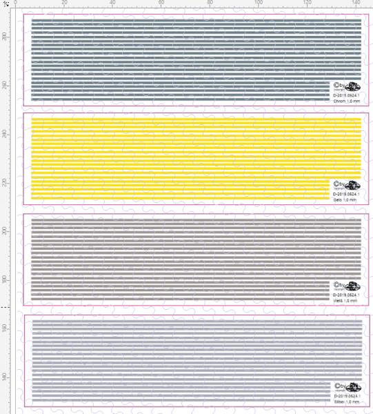 D-2019.0524 Decalsatz Warnstreifen 1,0 mm x 135 mm - 15 Stk - 1:87