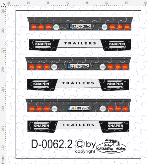 D-0062.2 Rückleuchten Heck Knapen Schubboden - Decalsatz 3 Stück 1:87