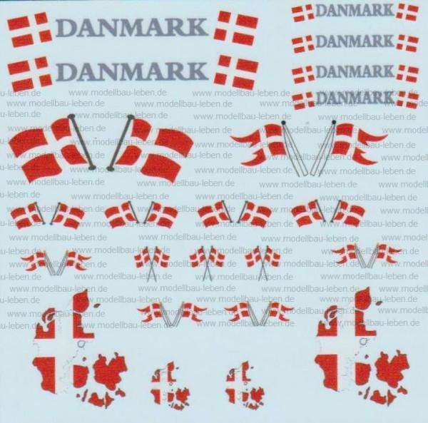 D-0517 Flaggenset Dänemark - 1 Satz 1:87