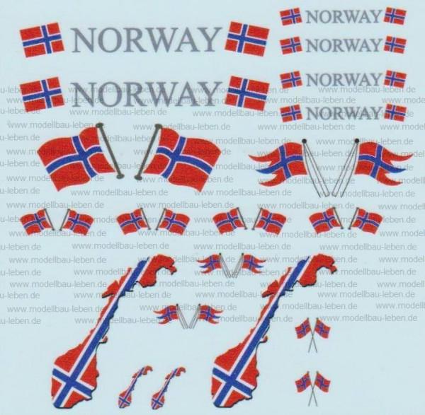 D-0519 Flaggenset Norwegen - 1 Satz 1:87