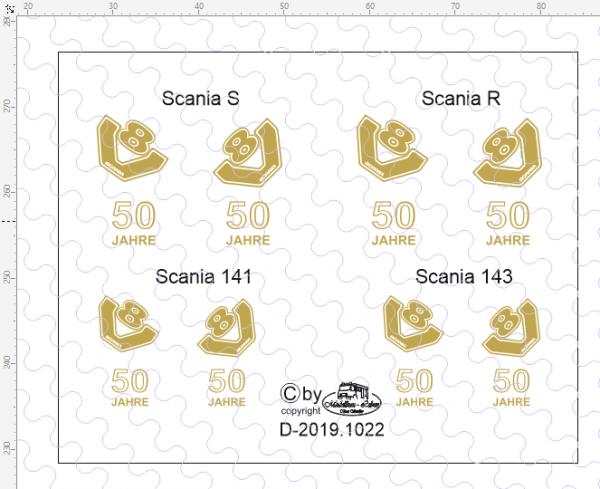 D-2019.1022 - Decalsatz Scania 50 Jahre - 1 Satz für 4 Fahrzeuge - 1:87