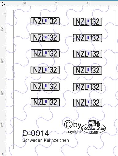 D-0014 Kennzeichen Schweden - Nummernschild 12 Stück - 1:87 Decal